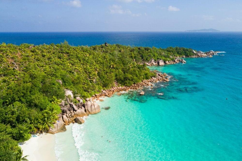 Vista de las playas de Praslin