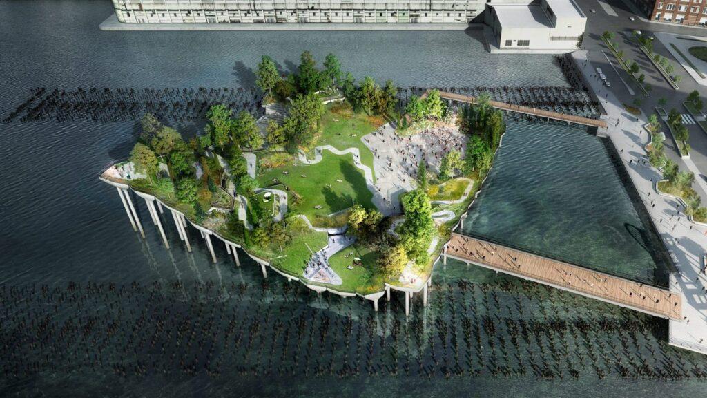Zona de juegos del parque del río Hudson en el muelle 51